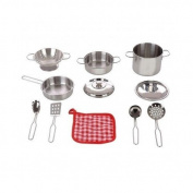 Stainless Steel Cookware 11 Pc Playset Pots Pans Colander Strainer Utensils Oven Mitt