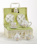 Delton Children's Porcelain Tea Set with Carrying Basket - Spring Flowers