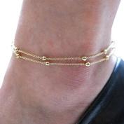 Fulltime(TM) Gold Double Women Foot Chain Anklet Ankle Bracelet Barefoot Beach Foot Jewellery