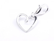 Silver 925 lovely heart clip on charm ideal for branded bracelet or necklace