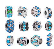 Souarts Mixed Blue Rhinestone Flower European Beads for Charms Bracelet Pack Of 12Pcs