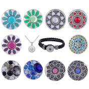 Morella Ladies 'Click-Button Necklace Stainless Steel 70 cm with free Wrist Strap Designs Set Colourful Flower Shop 10