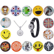 Morella Ladies 'Click-Button with Set Version 14 Poppers Smiley Happiness Necklace 70 cm with Stainless Steel Bracelet