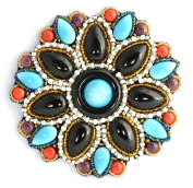 Black Turquoise Porcelain Large Flower Brooch - Costume Jewellery