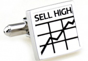 Gemelolandia Silver-Coloured Cufflinks with Sell High, Buy Low Text and Graph Design