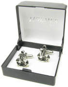Holmes of London Novelty Anchor and Rope Nautical Ship Yacht Boat Cufflinks Mens Silver Shirt With Free Gift Box