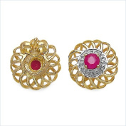 0.7 Carats Ruby in 3.31 Grammes Gold Plated Silver Earring
