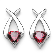 3.4 Carats Red CZ in 3.2 Grammes Silver Earring