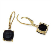 7.62 Carats Black Onyx in 3.64 Grammes Gold Plated Silver Earring