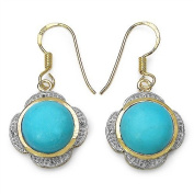 9.28 Carats Turquoise in 7.74 Grammes Gold Plated Silver Earrings