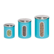 3pk metal storage canisters, blue