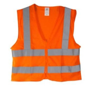 High Visibility Neon Orange Zipper Front Safety Vest with Reflective Strips - XXL Size - Meets ANSI/ISEA Standards