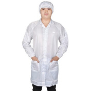 Unisex White Elastic Cuff 2 Patch Pockets Anti Static Lab Smock Long Coat M