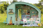 DIY Wooden Dolls House Handcraft Miniature Kit-Caravan Model & Furniture