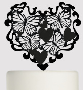 Birthday or Wedding Acrylic Cake Topper - Butterflies and love hearts in an elegant heart - Acrylic Cake Topper - Black