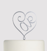 Birthday or Wedding Acrylic Cake Topper - Love in Heart Shape - Acrylic Cake Topper - Silver Sparkle