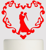 Extra Large Wedding Acrylic Cake Topper - Mr and Mrs - Love Birds on Branch in Heart - Acrylic Cake Topper - Red