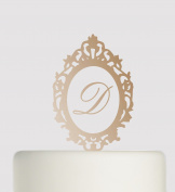 Mirror Shaped Acrylic Cake Topper - With Clear acrylic glass to hold letter in place and give the appearance its floating- Acrylic Cake Topper - Bronze Mirror