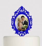 Mirror Shaped Acrylic Cake Topper - With Picture printed on acrylic. Can be used for celebrations, Christenings, birthdays, weddings, party, anniversary, celebrations of life, Christmas, mothers day, fathers day etc- Acrylic Cake Topper - Blue