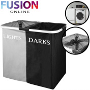 LARGE FOLDING LIGHTS & DARKS LAUNDRY SORTER HAMPER BIN BAG WASHING BASKET BLACK