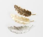 cuhair(TM) 3pcs punk leafs feather metal desgin for girl hair clip Barrettes claw accessories