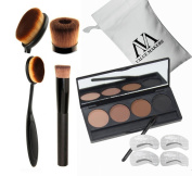 VALUE MAKERS 4 In 1 Pro Cosmetics Set-4 Colour Eyebrow Powder Makeup Palette-Eye Brows Stencils-Toothbrush Curve Makeup Brushes-Liquid Foundation Brush-Make Up Kit+Portable Bag