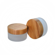 30g 30ml Environmental Bamboo Lid Frosted Glass Bottle Cream Jars Empty Cosmetic Comtainer Pack of 1pcs