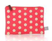 Beautiful Red Polka Dot Oilcloth Zip Pouch Make up Pencil Case Brushes