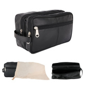 Large Real Leather Toiletry Wash Organizier Travel Overnight Bag Case