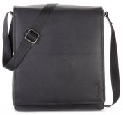 LEABAGS LONDON Genuine Leather Vintage Flapover Satchel Shoulder Bag, OnyxBlack