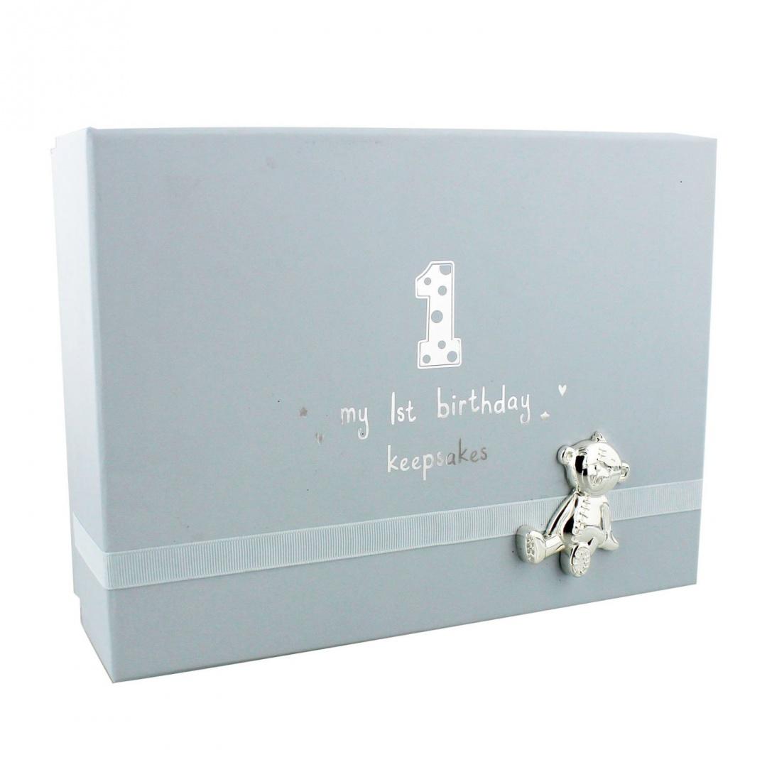 Baby Boys 1st Birthday Gift Keepsake Box With Teddy By