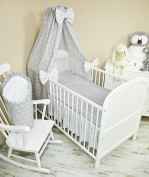 5-Piece Baby Bed Linen Set with Cot Bumper, Bed Sheets and Canopy 100 x 135 cm Full-Fabric Canopy, Stars, Grey