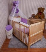 Baby Bedclothes Canopy Nest Bed Set with Embroidery 100 x 135 cm for Cot Teddy Violet Chiffon Canopy