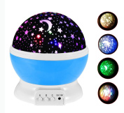BestFire Novelty 360 Rotating Round Night Light Projector Lamp (Star Moon Sky Projector ,3 Model Light, USB Battery Powered) Romantic Home Decoration Lamp Great Gift for Children