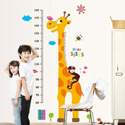 DELIWAY Cartoon Naughty Monkey and Yellow Giraffe Height Measurements DIY Wall Sticker Oversized Height Stick Removable Wall Paper For Home Nursery Decor Kid's Bedroom