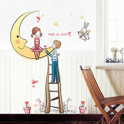 Romantic Moon Stars English Letters Fall in Love Wall Decal Home Sticker Paper Removable Living Dinning Room Bedroom Kitchen Art Picture Murals DIY Stick Girls Boys kids Nursery Baby Playroom Decoration