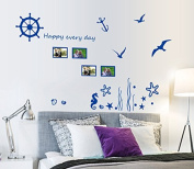 English Letters Blue Ocean Birds Wall Decal Home Sticker Paper Removable Living Dinning Room Bedroom Kitchen Art Picture Murals DIY Stick Girls Boys kids Nursery Baby Playroom Decoration