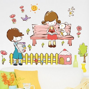 Lovely Boy And Girl Dog Wall Decal Home Sticker Paper Removable Living Dinning Room Bedroom Kitchen Art Picture Murals DIY Stick Girls Boys kids Nursery Baby Playroom Decoration