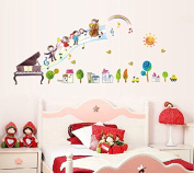 Music Notes Piano Trees Sun Wall Decal Home Sticker Paper Removable Living Dinning Room Bedroom Kitchen Art Picture Murals DIY Stick Girls Boys kids Nursery Baby Playroom Decoration