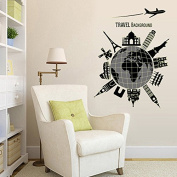 . Global Travelling Night Lighting Wall Decal Home Sticker Paper Removable Living Dinning Room Bedroom Kitchen Art Picture Murals DIY Stick Girls Boys kids Nursery Baby Playroom Decoration