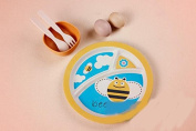 Bamboo fibre child Dinnerware Set baby Cute Animals Divided Dinner plate/bowl/Spoon/fork,bee
