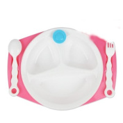 Insulation Bowl With suction cups baby tableware child Dinner plate with Spoon fork pink
