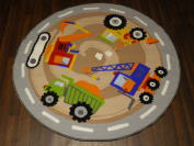 Non Slip Backing 133cm x 133cm Kids Diggers Quality Rug/Mat Hours Of Fun