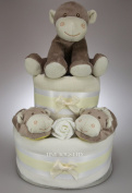 Unisex Baby Boy Girl Two Tier Nappy Cake with Cute Cheeky Monkey New Born Baby Shower Gift