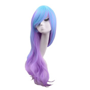 Hosee Women's 80cm long Blend Blue Purple Multi-colour Lolita Maid Cosplay Costume Curly Wave Wigs