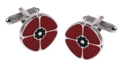 Red Poppy Cufflinks & Presentation Gift Box Rememberance Sunday