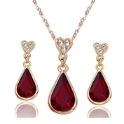 [Christmas Gift]Yoursfs Tear Drop of the Heart 18k Rose Gold Plated Garnet Crystal Pendent Necklace and Earrings Set