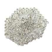 Silver Metal Floral Brooch Simulated Acrylic Stone Patch Applique Craft 2 Pieces