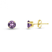 Kezef Round 2mm Genuine Purple Amethyst Yellow Gold Plated Silver Stud Earrings