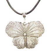 Beautiful Large (7x5cm) Antique Silver Filigree Butterfly Pendant on Leather Choker Necklace